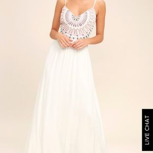 Lulu Ascension Island White Embroidered Maxi Dress